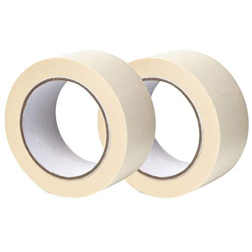 Gocableties, 2 Stück, 50 mm x 50 m Malerkrepp, Premium Malen und Dekorieren Malerband, Weiß Kreppband
