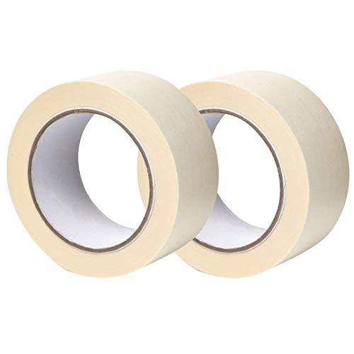 Twin Pack Premium Masking Tape, 50mm (2') x 50m, Painting & Decorating Strong Adhesive Tape, 2 Rolls by Gocableties