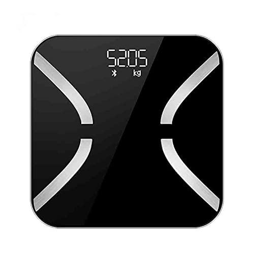 SONG Escala de Peso Corporal Inteligente, báscula de baño de Grasa Gruesa Corporal electrónica Bluetooth con frecuencia cardíaca, índice del corazón y función de Balance Corporal para la Aptit