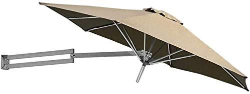 YYF Tatsächlich Sonnenschirm 2.5m Balkon Regenschirm Wand Retractable Außen Regenschirm Freizeit Hof Regenschirm Garden Design-LED-Lampe Sonnenschirm hohe Qualität (Color : Beige)