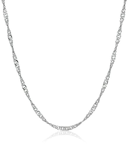 """Sterling Silver Italian 1.4 mm Singapore-Chain Necklace, 18"""""""