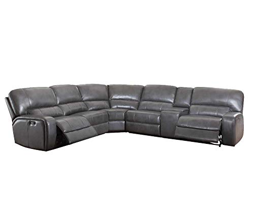 HomeRoots Upholstery, Metal Reclining Mechanism 41' X 138' X 127' Upholstery and Metal Reclining Mechanism Sectional Sofa (Power Motion/USB Dock), Gray Leather-Aire