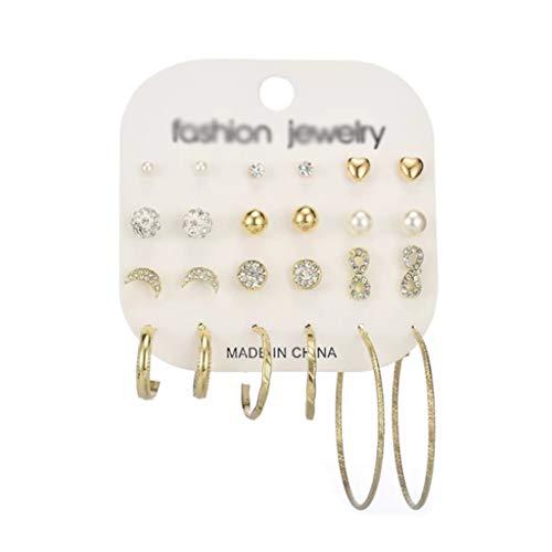 didi Juego de pendientes de perlas simples para mujer, para reuniones en varios lugares (color: oro)