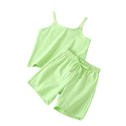 2 piezas de ropa de verano para niñas pequeñas sin mangas de color sólido con decoración de flores pantalones cortos de cintura elástica, verde claro, 2-3 Años