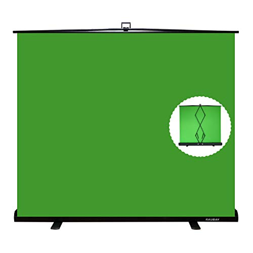【Wider Style】 RAUBAY 78.7in x 74.8in Large Collapsible Green Screen Backdrop Portable Retractable Chroma Key Panel Photo Background with Stand for Video Conference, Photographic Studio, Streaming