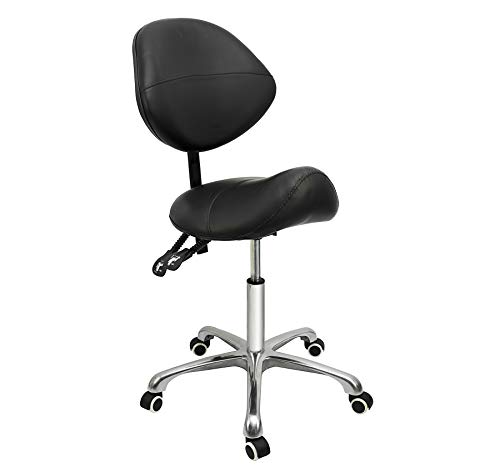 Grace & Grace Professional Saddle Stool Series with Backrest Hydraulic Swivel Comfortable Ergonomic with Heavy Duty Metal Base for Clinic Dentist Spa Massage Salons Studio (Black)