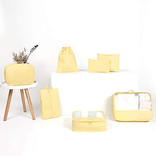 Baomasir Kleidertasche 7-teilig Set Packing Cubes Reise Kofferorganizer Packtaschen Reisegepäck Organizer mit Wäschesack Schuhbeutel Kosmetik Kulturbeutel Reisetaschen(Gelb)