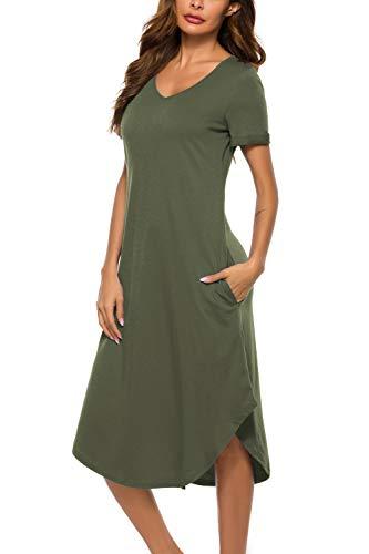 O.AMBW Camiseta clásica con Cuello en V y Bolsillos Laterales Pijamas Vestido con Dobladillo asimétrico Ropa de Dormir Ropa de Cama para niñas Adultas Ropa de Maternidad Mujeres Embarazadas