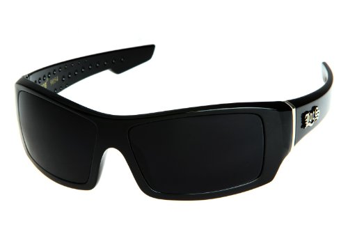 Locs Men's Rectangular Hardcore Black Wrap 63mm Sunglasses (Cursive Logo)