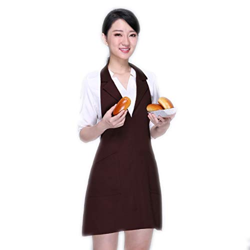 delantal Cómodo Cuello de Traje Cocina Restaurante cafetería Trabajo Vestido de Trabajo en casa A Prueba de Salpicaduras (Color : Brown)