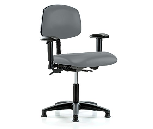 Perch Multi Task Swivel Chair with Stationary Caps, Desk Height, Cinder Fabric