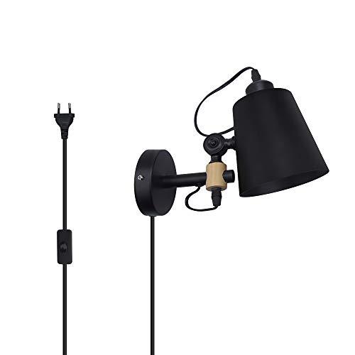 Luxvista Wandlampe Vintage industrielle Wandleuchte aus Metall und Holz in Schwarz Leselampe mit Schalter und Stecker E27 Fassung Nachtlicht für Schlafzimmer,Wohnzimmer
