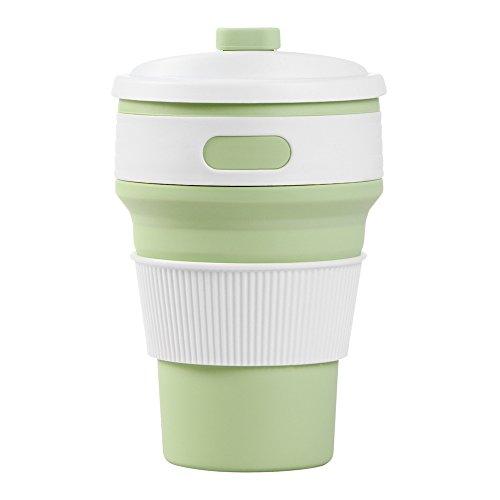 Simplefirst Tasse à café pliable en silicone réutilisable pour la maison, le bureau, les voyages, le camping et la randonnée Vert moutarde