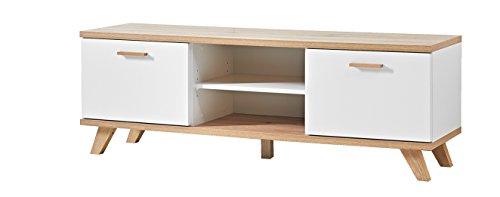 Germania 3219-221 Lowboard im skandinavischen Design GW-Oslo in Weiß/Absetzungen Sanremo-Eiche-Nachbildung, 144 x 50 x 40 cm (BxHxT)