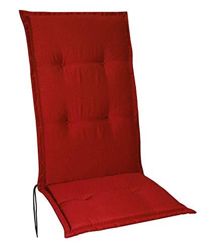 Schwar Textilien Gartenstuhlauflagen Stuhlauflagen Sitzauflagen Auflagen Hochlehner 5 Farben (Rot)