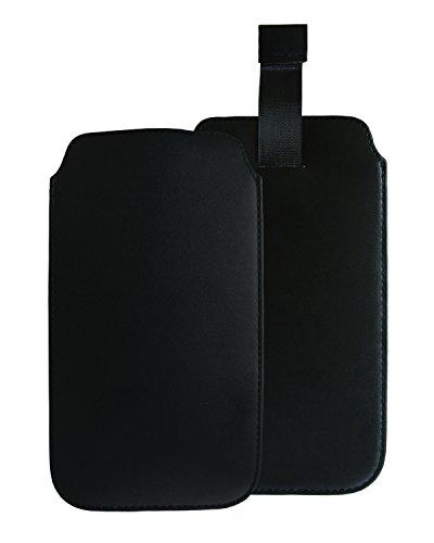 Slabo Schutzhülle kompatibel mit Medion Life E4504 Schutztasche Handyhülle Hülle aus PU-Leder - SCHWARZ | Black