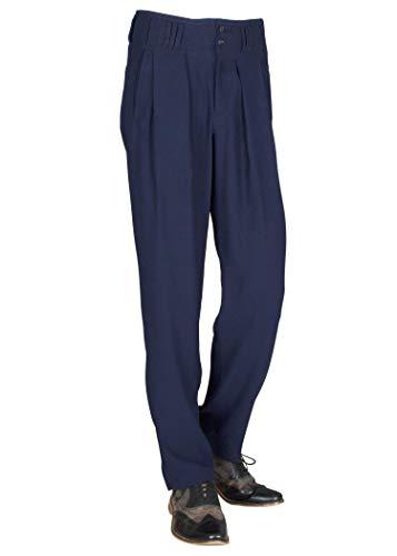 H K Mandel Herren Chino Hose Stoffhose in Dunkelblau mit Bundfalte aus Microfaser mit Extraweit geschnittene Beine Model Boogie Größe 48