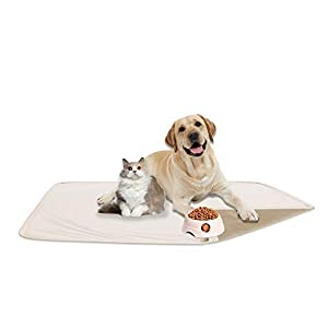fuguitex Waterproof Dog Bed Cover Sofa Couch Cover for Dog Pad Dog Mat Dog Rug Carpet Washable Resuable Crystal Velvet Puppy Pad for Training (30″ 70″,Cream+Sand)
