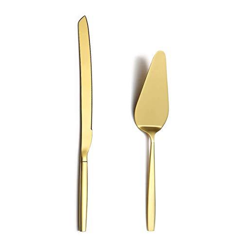 BerglanderServidores de pasteles de pastel de oro, juego para servir pasteles, cuchillo para pastel y juego de servidor perfectos para bodas, cumpleaños, fiestas y eventos