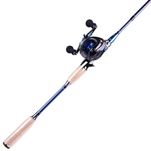 Sougayilang Fishing Baitcasting Combos, Lightweight Carbon Fiber Fishing Pole and 9+1BB Corrosion Resistant Bearings Fishing Reel-Left Hand for Travel 4-Piece-Casting Rod and Left Hand
