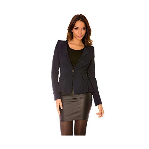 Miss Wear Line - jas Blazer zwart met lus op de rug en gordijn, onder (-14143)