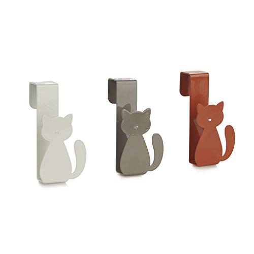 Balvi Colgador cajón Meow! Color marrón, Gris y Blanco Set de 3 Ganchos para Puerta para Colgar paños de Cocina, Toallas de baño, Bufandas, etc Diseño en Forma de Gato Metal 4,6x9x4 cm
