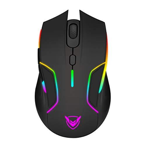 Holife Kabellose Gaming Maus, RGB Maus, 10000DPI Sensor, 6 programmierbaren Tasten, 2.4G USB Wireless Maus, Lange Akkulaufzeit, Anpassbare Spielprofile, Leichtgewicht, Optische PC Computer Mouse