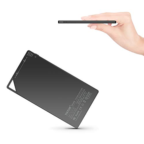 TNTOR 5000mAh Ultra Thin Power Bank Wallet Charger [only 6mm] Compact External Slim Battery Charger for Android & iPhone