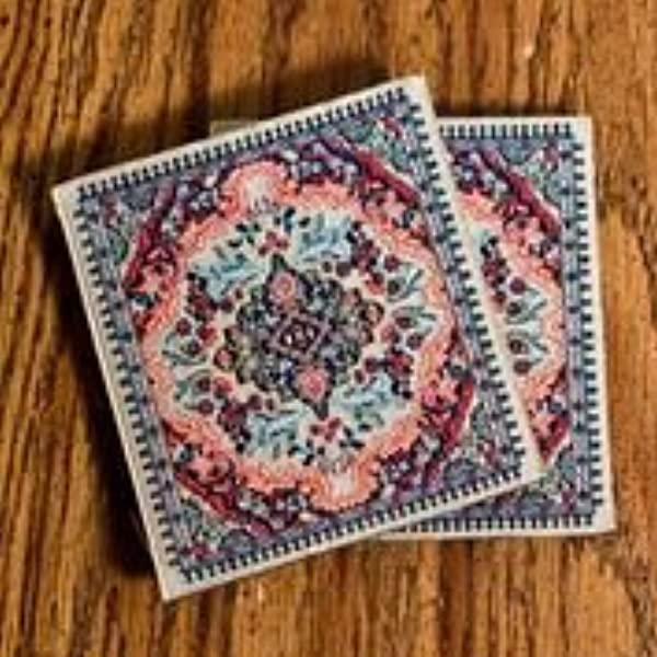 Logos Turkish Rug Coaster Set Gold Pack Of 2