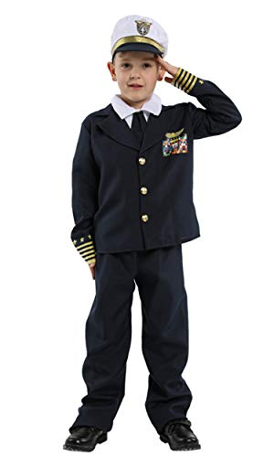 stylesilove Kid Boys Halloween Costume Cosplay Outfit Themed Events Birthdays Party Clothes (Captain Pilot, L/7-9 Years)