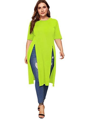 Romwe Women's Casual Plus Split Longline Short Sleeve Round Neck Tee Shirt Tunic Neon Green 1X