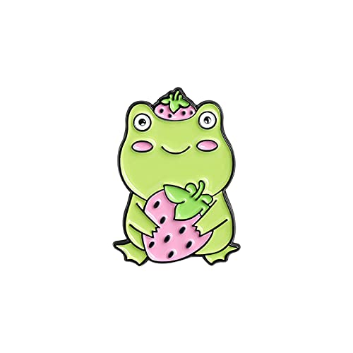 N\C Broches de Esmalte Pin Bolsa Pin de Solapa Dibujos Animados Animal Quack Frog Lotus Leaf Insignia Joyería para niños Amigos