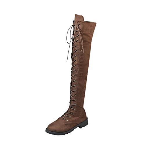S&H NEEDRA Frauen Stretch Faux Slim Lace-up Hohe Stiefel Overknee Stiefel High Heels SchuheDamen Go Walk Lite Sneaker, Grau