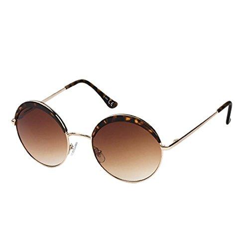 Zonnebril ronde bril John Lennon stijl 400 UV halve maan metaal en glas Top