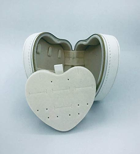 White faux leather heart shaped travel jewellery case