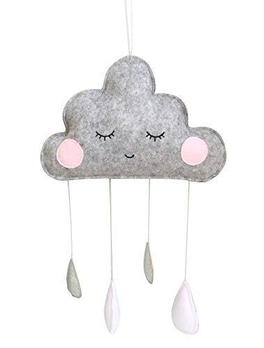 Baby Mobilé Babybett Wolke Grau Silber Regentropfen Nordic Style Deko Kinderzimmer