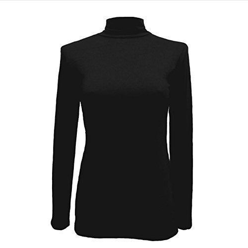Body 2 Body Polo COL ROULÉ Extensible Femmes ROULÉ Cou Manches Longues Haut Viscose 8-22 - Noir, Femme, XX-Large
