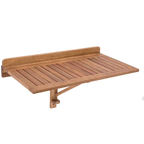 Mesa de terraza plegable de madera natural, color marrón, Ldk Garden