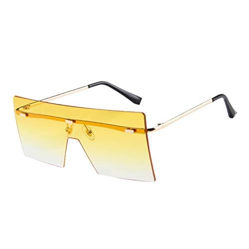 Lazzboy Große Quadratische Randlose Sonnenbrille Vintage Metal Oversized Shades Eyewear übergroße Damen Big Frame Windproof Flat Top Schutzbrille(Gelb)