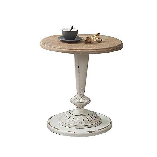Escritorio de oficina en casa Retro americana pequeña mesa de café Sólido balcón lateral madera mesa redonda Sofá lado varias hierro forjado estadounidense chasis anidar tablas de mesa redonda de café