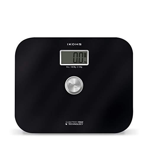 IKOHS EXIGES - Báscula de Baño ecológica generación de energía con Pantalla LCD, sin pilas ni baterias, Compacta, Capacidad de 150kg, Medición Alta Precisión, Con Apagado Automático (Negro)