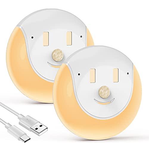 Luce Notturna a Led con Sensore di Movimento, Ricaricabile Tramite USB, con 3 Modalità (On/Off/Auto), Camera da Letto, Armadio, Cameretta, Scale, Cantina, Luce bagno (2 pz)