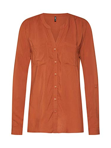 ONLY Damen ONLFIRST LS Pocket Shirt NOOS WVN Bluse, Braun (Ginger Bread Ginger Bread), X-Small (Herstellergröße: 34)