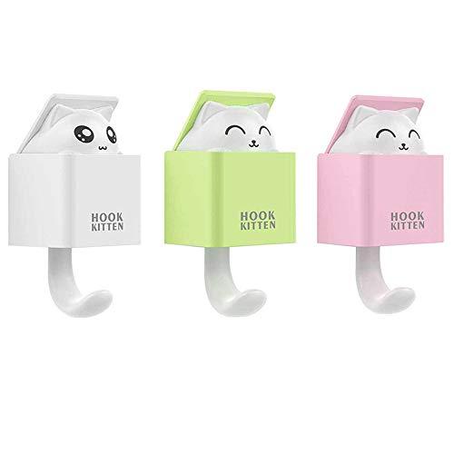 MoPei 3 Piezas Ganchos Adhesivos Impermeable Creativo Gancho de Pared Animal Apto para Adultos y Niños para Cocina, Dormitorio, Baño, Colgando Toallas, Ropa, Paraguas, Bufandas, etc