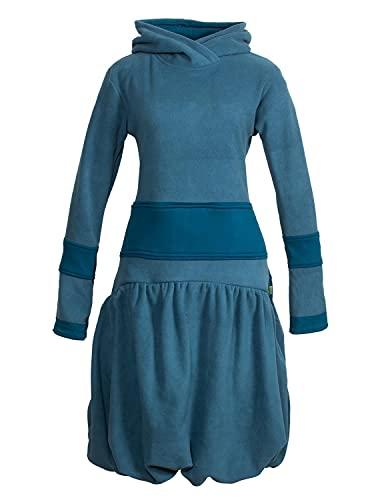 Vishes - Alternative Bekleidung - Langes Langarm Damen Winter-Kleid Ballonkleid Kapuzen-Kleid Eco-Fleece türkis 44