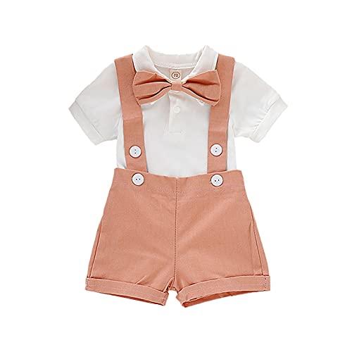 YQYJA Ropa de bebé niño conjuntos verano caballero traje sólido manga corta polo mameluco tirantes pajarita 3 piezas trajes, Rojo ladrillo, 0-6 Meses