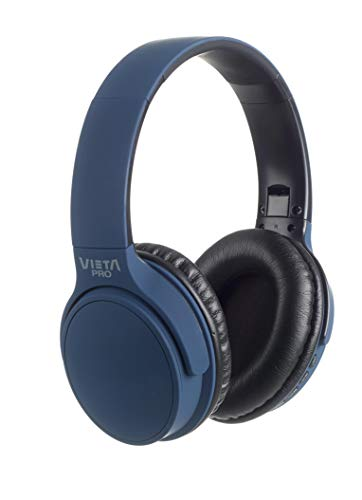Vieta Pro Way – Auriculares inalámbricos (Bluetooth, Radio FM, micrófono Integrado, Entrada Auxiliar, Reproductor Micro SD, Plegables, autonomía 40 Horas) Azul