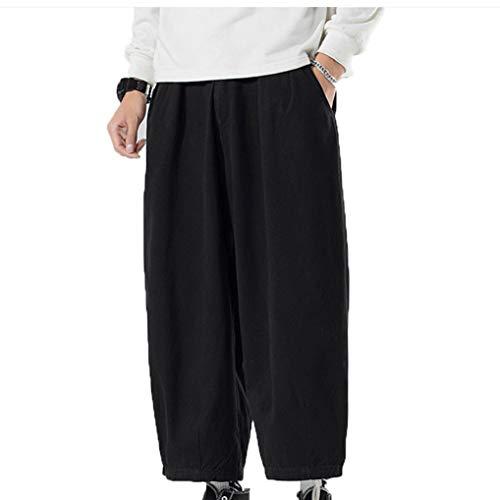 Pantalones De Uso Diario para Hombres Ropa Casual De OtoñO Juventud Retro Suelta Micro Pierna Ancha Pantalones CóModos Harem Antiarrugas