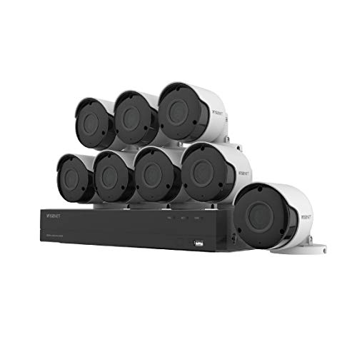 Wisenet SDH-C84085BF 8 Channel Super HD DVR Video Security System with Hard Drive and 8 5MP Weather Resistant Bullet Cameras (SDC-89445BF) (1 TB HDD)