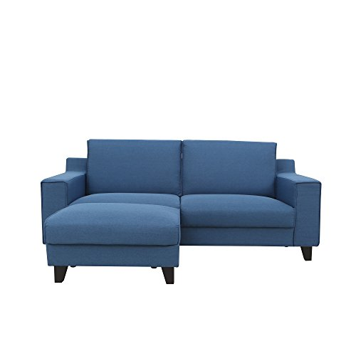 Magari Furniture Modern Living Room Couch Fabric Upholstered Sofa with Stool Ottoman Corner Chaise, Blue